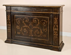 PM-3300 Tuscan Sideboard - black w/ gold decs.