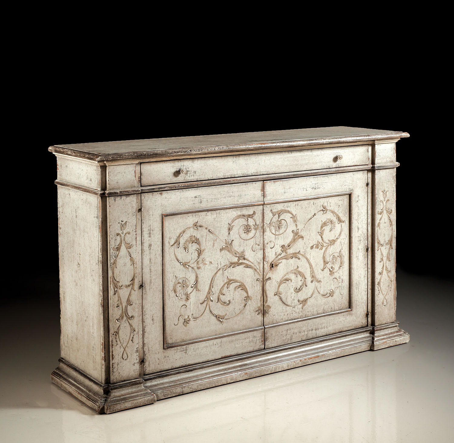 Pm 3300 L Hand Painted Sideboard Grey Finish David