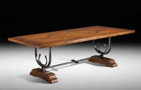 GV-556 Solid Top Table w/ Forged Iron Base