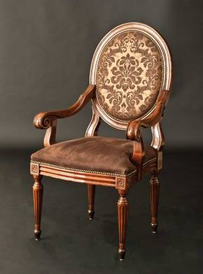 GV-82-AL Arm Chair w/ Damask Leather