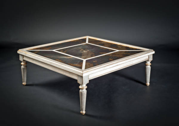 BAR-0168 Coffee Table w/ Eglomise Mirrored Top