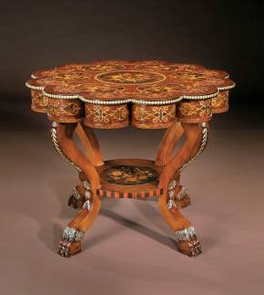 BN-399 Scalloped Top Lamp Table