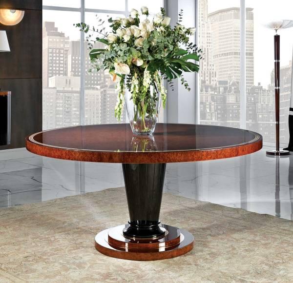 TM-105 Burl Veneer Round Dining Table