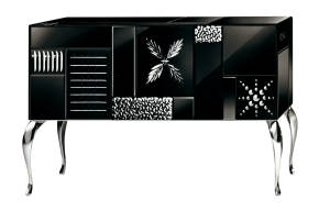 AV-7000-B Black Mirrored Sideboard