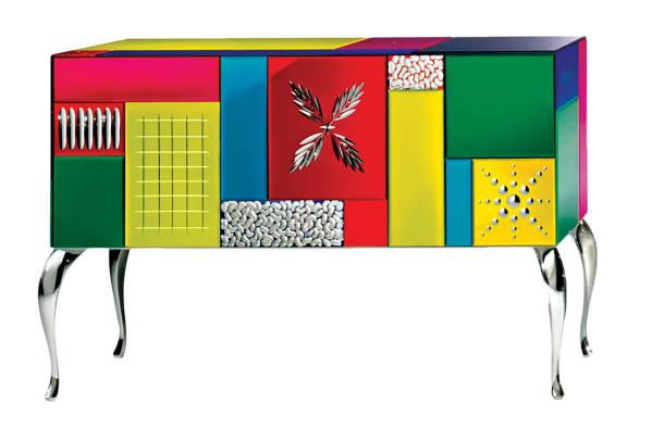 AV-7000-C Multicolored Mirrored Sideboard