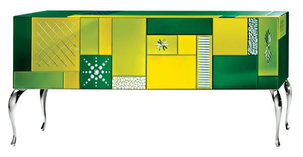 AV-7020-C Multicolored Mirrored Sideboard