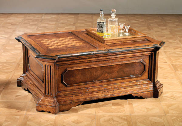 GV-820 Coffee Table w / Bar and Inlaid Game Top