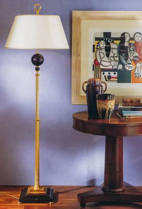 LD-STELO URANIA Bronze and Marble Floor Lamp
