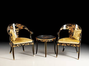 GL-1864-SET Chinoiserie Table and Chairs