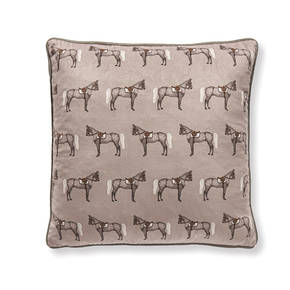 AB-1701-047-GRY Equestrian Themed Pillow