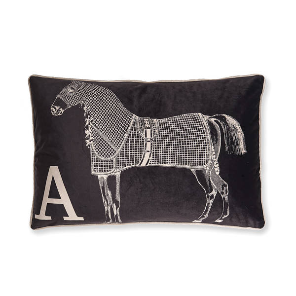 AB-1701-051-GRY Equestrian Themed Pillow