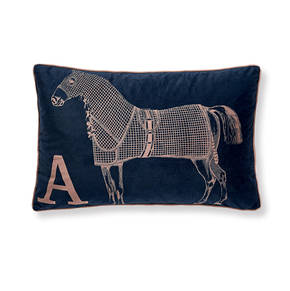 AB-1701-052-NVY Equestrian Themed Pillow