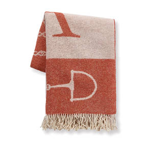 AB-1705-003-ORG Equestrian Themed Cashmere Throw