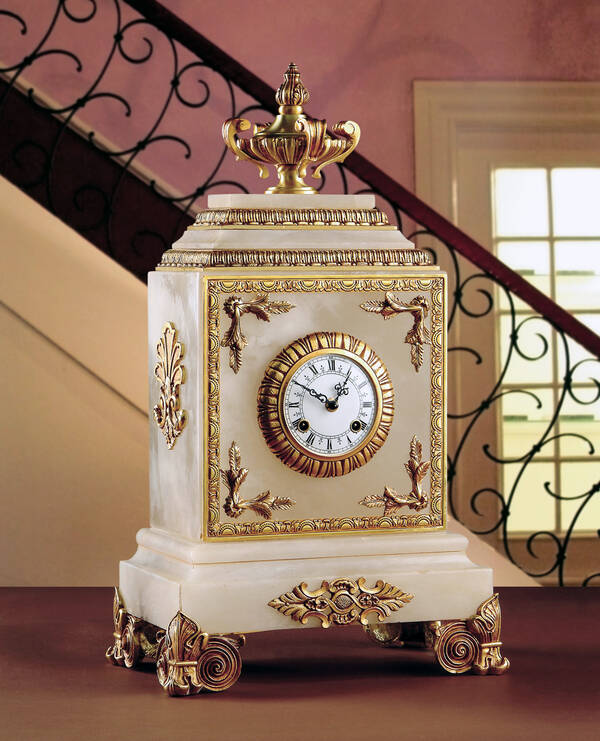M-A120 White Alabaster Clock