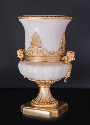 M-A136 White Alabaster Vase