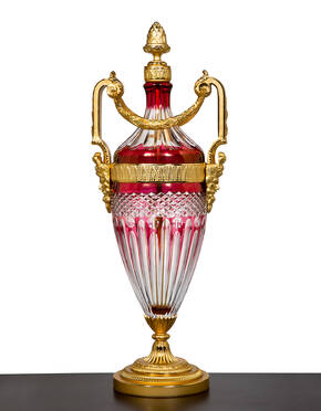 M-A139-2 Ruby Red Crystal Urn