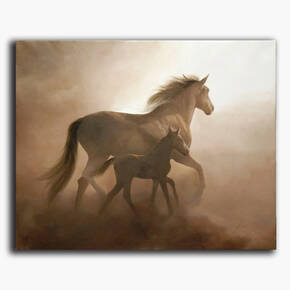 AN-1-47 Original oil painting - Mare and foal