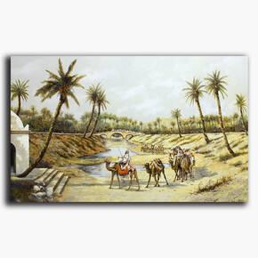 AN-13-35 Original oil painting - Desert oasis