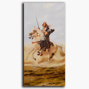 AN-13-85 Original oil painting - Horse and rider