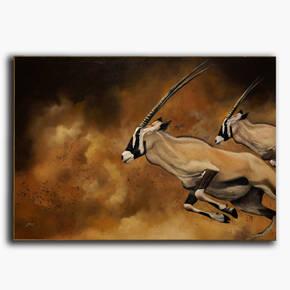 AN-1-64 Original oil painting - Thomson's gazelles