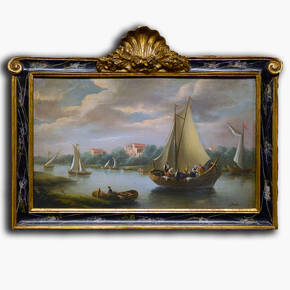 AN-6-45 Original oil painting with frame - Ships and Sails