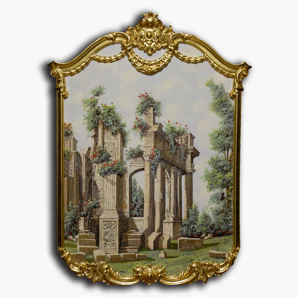 AN-9-77 Original oil painting with frame - Ruins