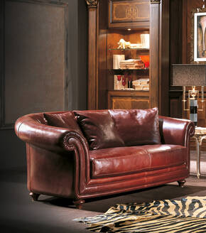 OR-245-2S Traditional Leather Love Seat
