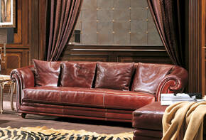 OR-245-3S Traditional Leather Sofa