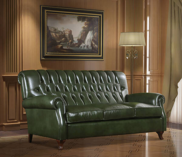 OR-249-3S Traditional Leather Sofa