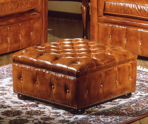 OR-238-O Transitional Tufted Leather Ottoman