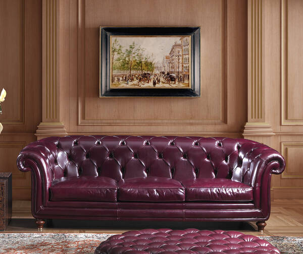 OR-247-3S Traditional Tuxedo Leather Sofa