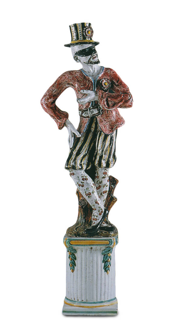 CEC-4-B Terracotta Masked Harlequin Statue