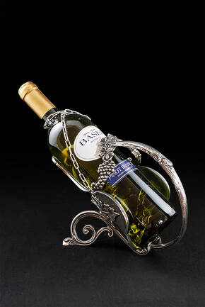 CDP-1113-1 Pewter Wine Bottle Caddy