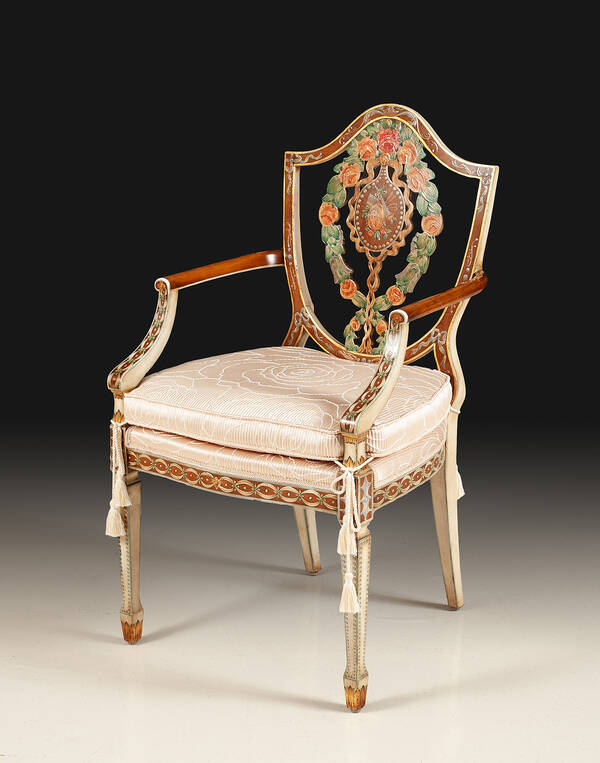 GL-1863-P Hand Painted Arm Chair