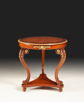 MN-260 Round Inlaid Lamp Table