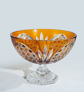 "CDM-524-285 10"" Amber Crystal Bowl"
