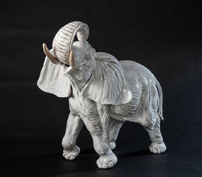 CEC-28 White Terracotta Elephant