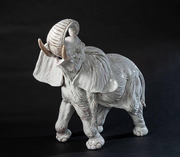 CEC-28 White Terracotta Elephant