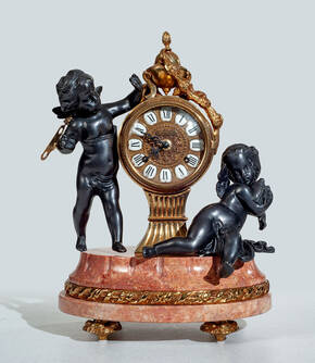 F-OB-30 Breccia Marble Mantle Clock