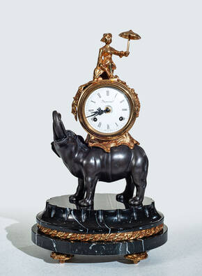 F-OB-62 Black Marble Elephant Clock