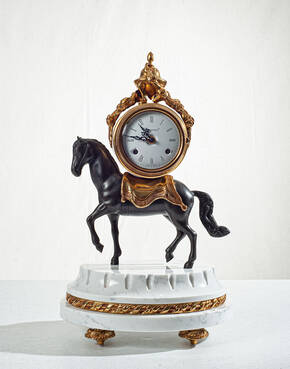 F-OB-66 White Marble Horse Clock