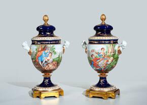 MG-11716-SET Hand Painted Porcelain Urns