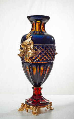 V-1303 Vase Diamond Amber and Blue
